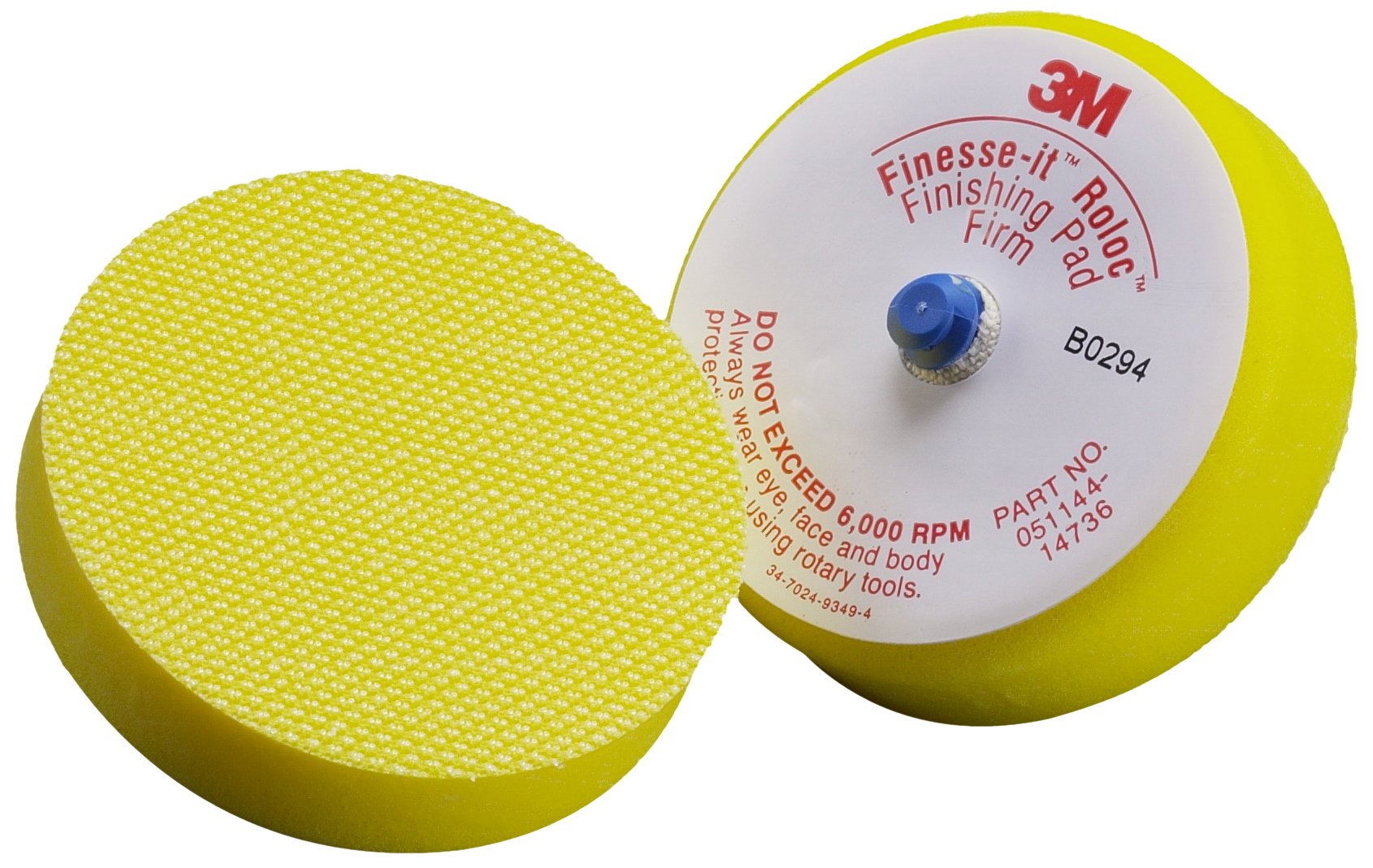 3M Finesse-it Roloc Finishing Disc Pad 14736V, Hook and Loop, 3'' Diameter x 1'' Thick, Yellow (Pack of 12) by 3M