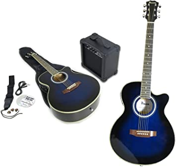 Benson Electric Electro BLUE BURST Semi Acoustic Guitar And 15 Watt Amplifier Package Inc Gig
