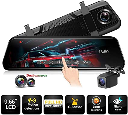 Full HD 1080P Dual Lens Car DVR Dash Cam Rearview Mirror Video Camera Recorder