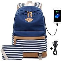 """Netchain 2 Packs Teenager Mädchen Schule Canvas Stripe Rucksack passt 15,6"""" Laptop mit USB Port Charge 1 Handtasche Tasche und Mittagessen Tote Bag Schwarz/Blau / Grün/Lila"""