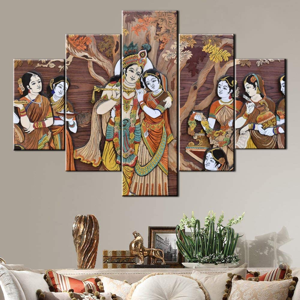 Indian Hindu Gods Painting Radha Krishna Pictures House Decorations Living Room 5 Pcs/Multi Panel Canvas Vintage Wall Art Artwork Giclee Framed Stretched Ready to Hang Posters and Prints(60''Wx40''H)
