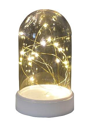 Led Deko Glocke Lichterkette Tischdeko Kaseglocke Beleuchtet Mit 20