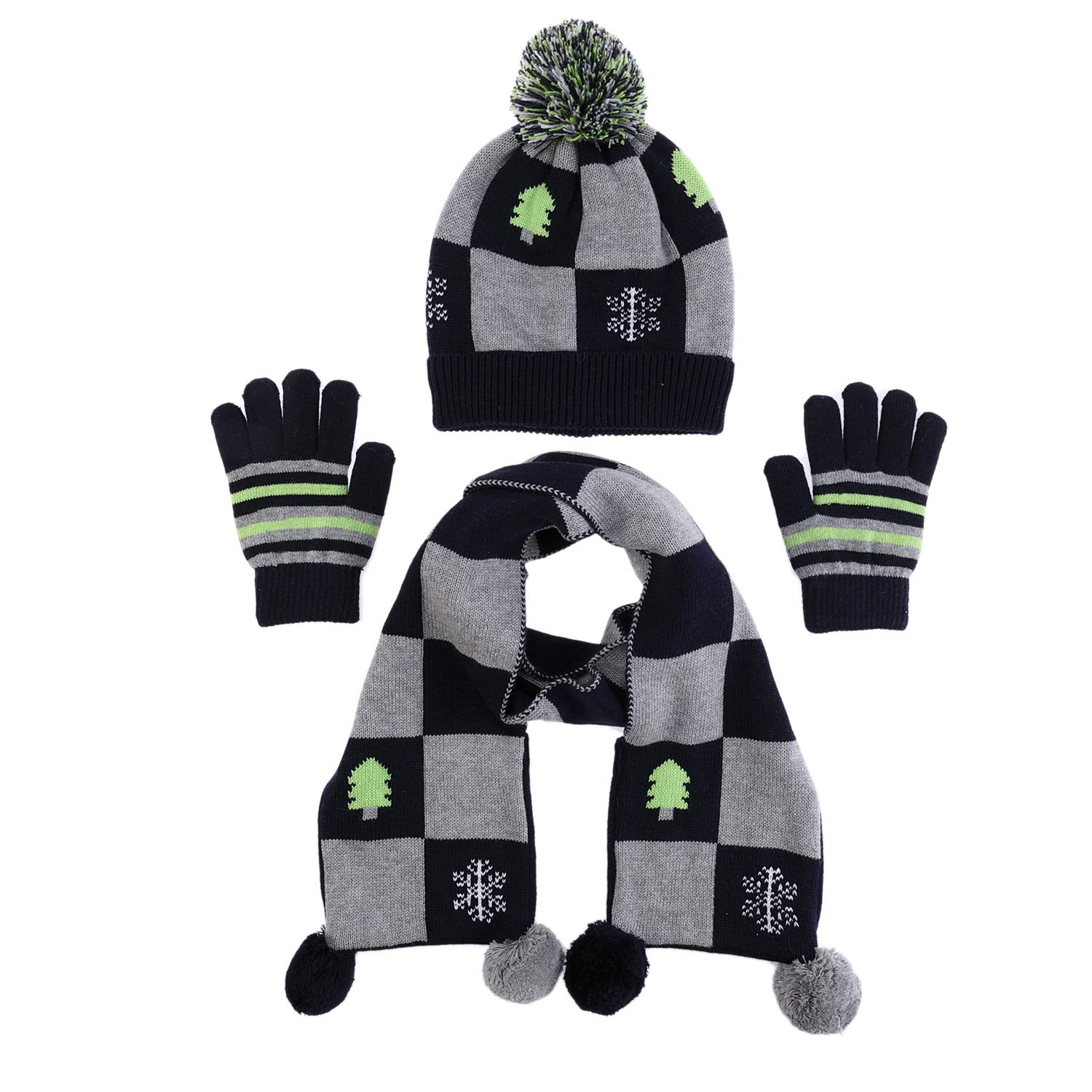 100% Cotton Hat Scarf Gloves Set Winter Warm Baby Toddler Boys Long Pom Scarf (M) Ailly AL1011