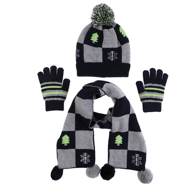 100% Cotton Hat Scarf Mitten Set Baby Fashion Checkered Pom Scarves Toddler Snow Beanie Cap Boy Winter Gloves (M) by Ailly