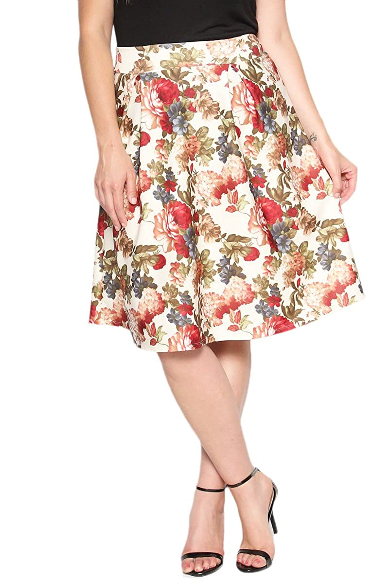 TheMogan Vintage Floral Print High Waist Swing Pleated A Line Flare Skirt