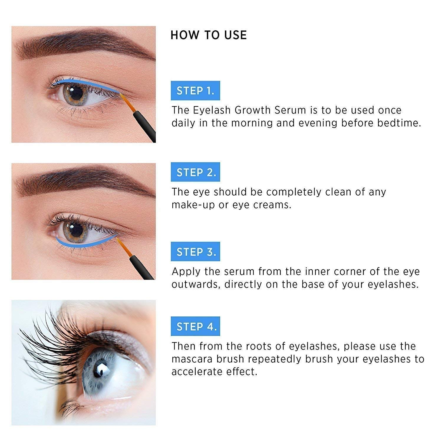 Natural Eyelash Growth Serum and Brow Enhancer to Grow Thicker, Longer Lashes for Long, Luscious Lashes and Eyebrows[3ml] by Terez & Honor (Image #5)