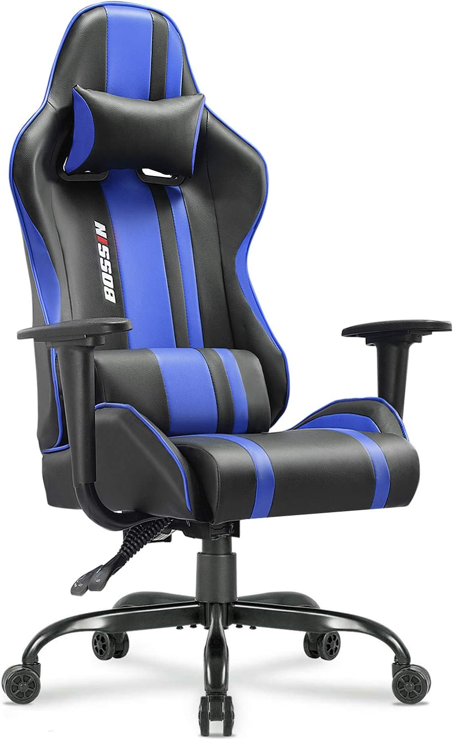Bossin Gaming Chair Racing Style High-Back Computer Gaming Chairs Swivel Ergonomic Executive Office Leather Chair Video Gaming Chair Blue