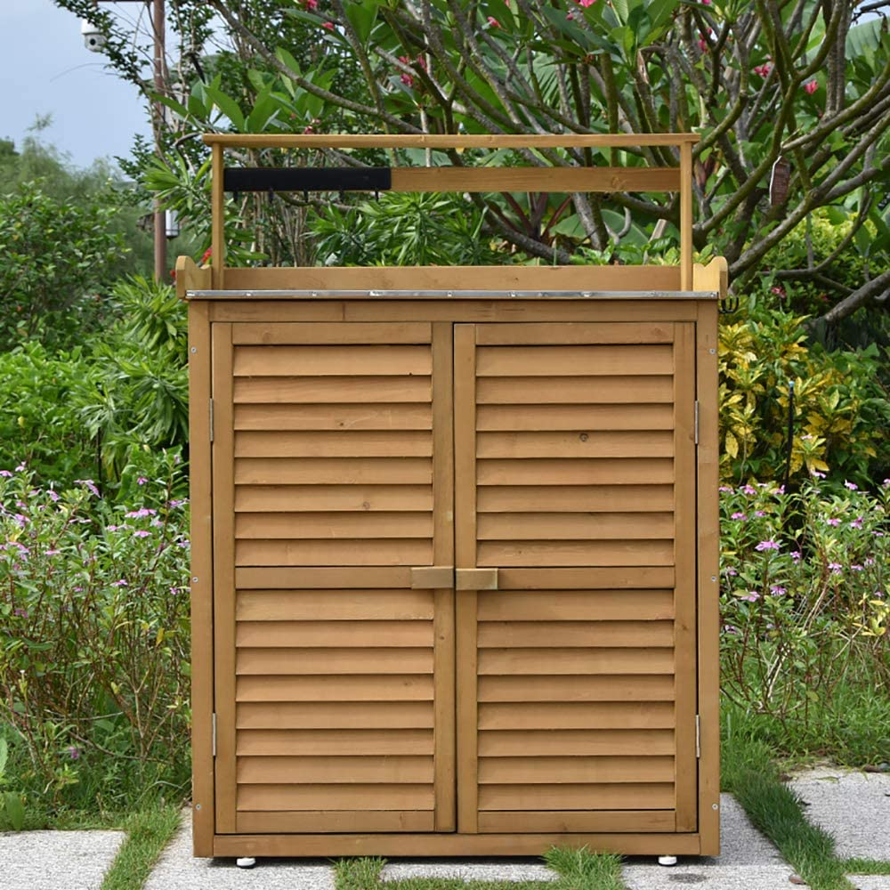 HJ Outdoor Garden Storage Shed - Wooden Shutter Design Wood Storage Organizers - Patios Tool Storage Cabinet Lockers for Tools, Lawn Care Equipment, Pool Supplies and Garden Accessories