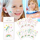 Unicorn Temporary Tattoos For Girls - 32 Tattoos (Pack of 16 Sheets) - Great Girls Party Favors - Non Toxic FDA Approved Colorants - Fake, Press On and Removable - 110% money back guarantee