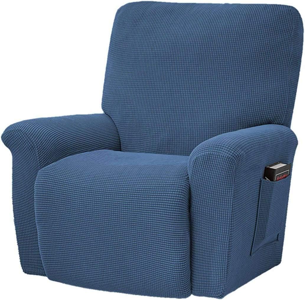 HUANXA 1 2 3 Seater Recliner Slipcover, 8 PCS Stretch Sofa Cover for Reclining Non-Slip Spandex Furniture Protector Couch Covers with Elastic Bottom-Blue-Chair (4 PCS)