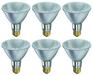 Pack Of 6 38PAR30/FL/LN 120V 39 Watt High Output (50W Replacement) 38W PAR30 Flood 40 Degree Beam Spread 120 Volt Halogen Par 30 Long Neck Light Bulbs