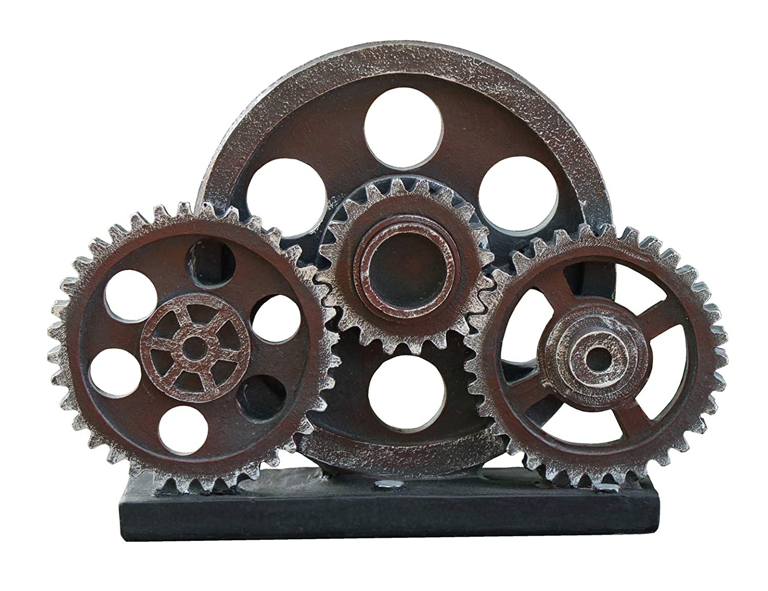 "Rmdusk Industrial Steampunk Gear Train Figurine, Cog Wheel Statue, Resin Model, Home Bar Décor Ornament 7.7"" H Copper"