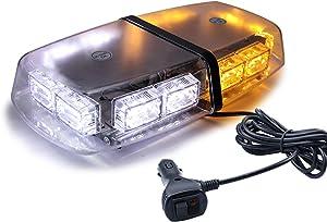 LivTee 16-Modes 36 LED High Intensity Law Enforcement Emergency Hazard Warning LED Mini Bar Strobe Light with Magnetic Base and, Amber/White
