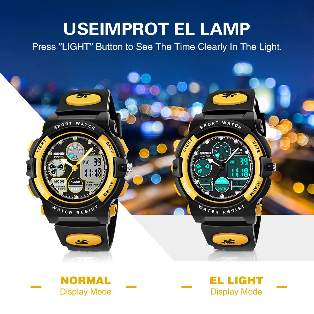 SOKY Cool Toys for 6-15 Year Old Boys LED 50M Waterproof Sports Digital Watches Gifts for Teen Boys Birthday Christmas Gifts for 6-11 Year Old Girls Boys Stocking Fillers for Teens Kids Yellow SKUSW3