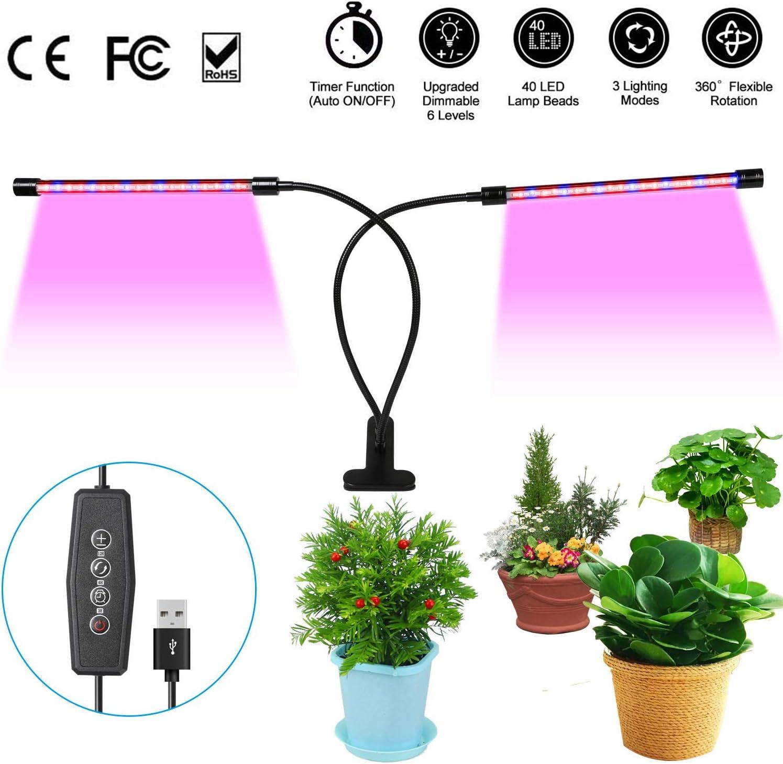 URAQT Lámpara LED Plantas, Lámpara de Crecimiento Vegetal, 40 Bombillas de Lámpara LED, Regulables 6 Niveles, Temporizador, 360 ° Flexible para plantas de Germinación y Semillero, Floración