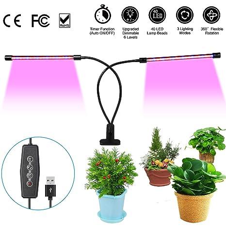 URAQT Lámpara LED Plantas, Lámpara de Crecimiento Vegetal, 40 Bombillas de Lámpara LED, Regulables 6 Niveles, Temporizador, 360 ° Flexible para ...