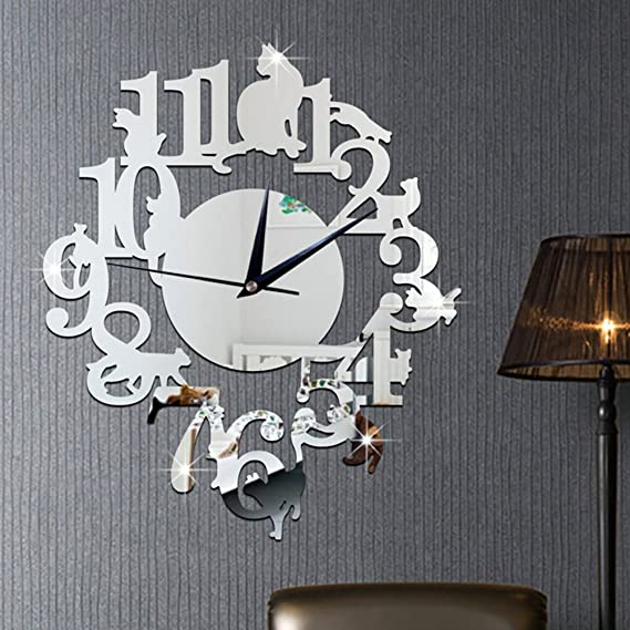 Amazon.com: WINOMO Clock stickers 3D DIY Acrylic Mirror Stickers Wall Watch Clock Cat on Shelf Design for Living Room Bathroom Window Classroom ...
