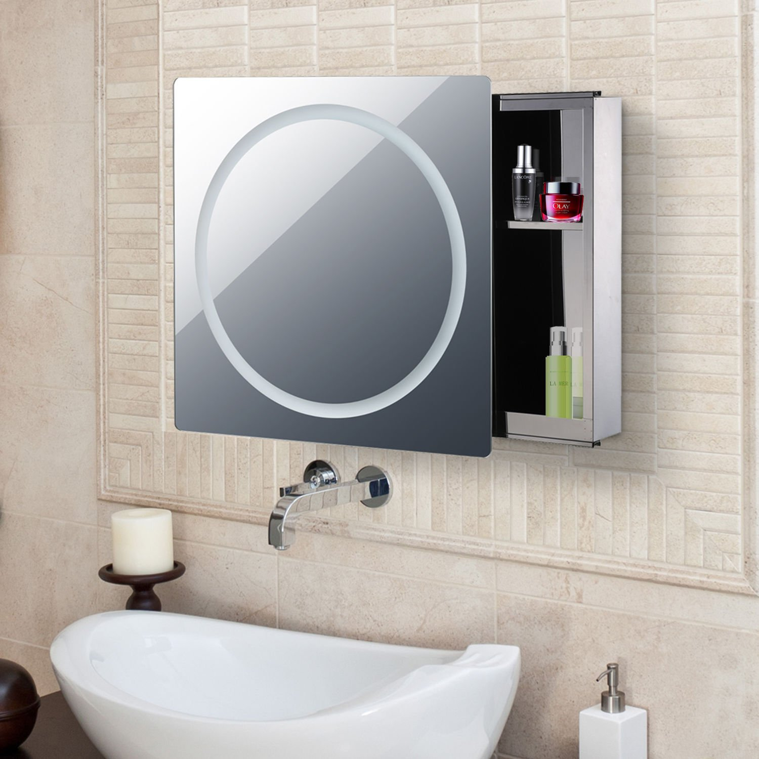 Generic DYHP-A10-CODE-4577-CLASS-8-- Steel Gliding Stainless ng St 24''x24'' Rounded LED athroom Cabinet Mirror LED C Bathroom 2Level '' Round --NV_1008004577-CXL-US10