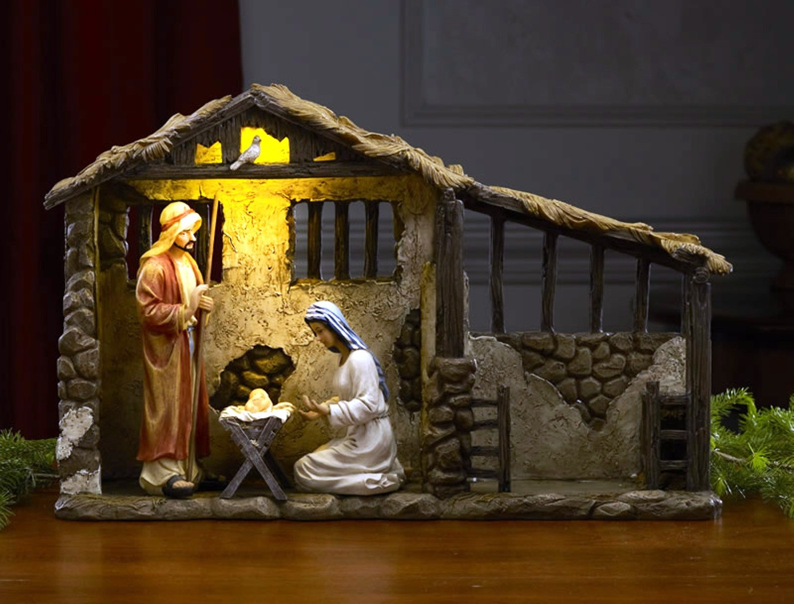7 Inch Figures Real Life Nativity Full Complete Set - Includes All People, Lighted Manger, Chest of Gold, Frankincense & Myrrh by Three Kings Gifts (Image #1)