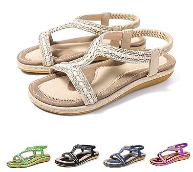 171b690b3f6b8 Camfosy Women Summer Flat Sandals Slip On Clip Toe Slingback Beach Sandals  T-Strap Thong Shoes
