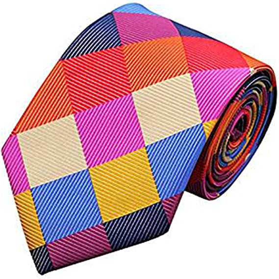Jason&Vogue Corbata de seda de cuadros de color rojo, naranja ...