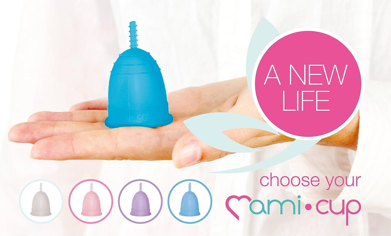 MamiCup® copa menstrual Aprobada por la FDA Silicona suave, flexibe y reutilizable de grado medicinal (Turquesa, L)