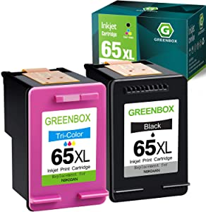GREENBOX Remanufactured Ink Cartridge Replacement for HP 65XL 65 XL for Envy 5055 5052 5058 DeskJet 3755 3752 2652 2655 2622 3720 3722 2624 3758 AMP 100 Printer (1 Black 1 Tri-Color)