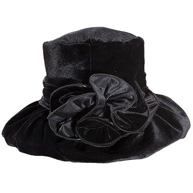 Lawliet Velvet Winter Elegant Floppy Hats for Women Polyester Flower Church  Female Cap (Black) 4ac1e9d15ce
