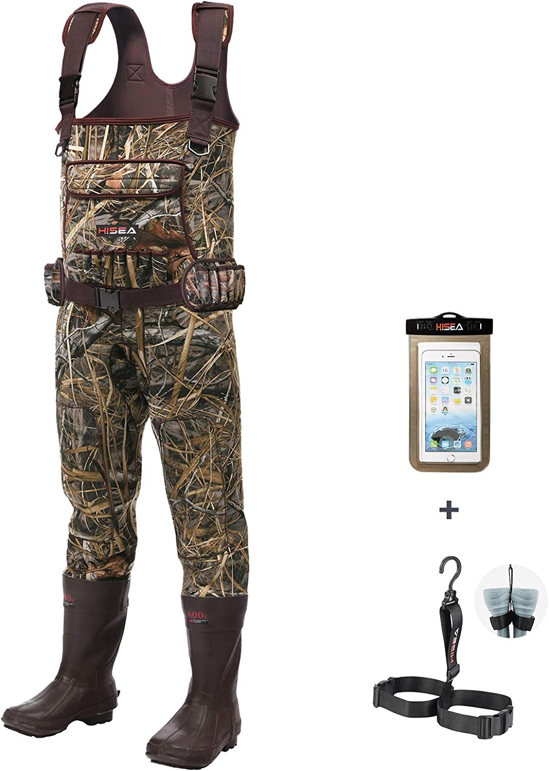 HISEA Chest Waders Neoprene Duck Hunting Waders for Men with 600G Insulated Boots Waterproof Camo Bootfoot Wader Hunting & Fishing Waders-Hang Belt Case Bag Included