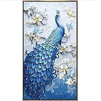 iDream Home Decoration 5D Diamond Painting Rhinestone Peacock DIY Mosaic Wall Decor (54cm x 32cm)