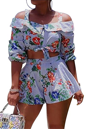 67b3d4be87e Amazon.com  Jotebriyo Women Flower Print Summer Cold Shoulder Crop Top and  Shorts 2 Pcs Outfits  Clothing