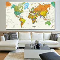 """Total Home:Rand Mcnally World Map(50"""" * 32"""") 2018 Nautical Ocean Sea World map Retro Old Art Paper Home Decor Living Room Poster Cafe Antique Poster (Color: Ivory)"""