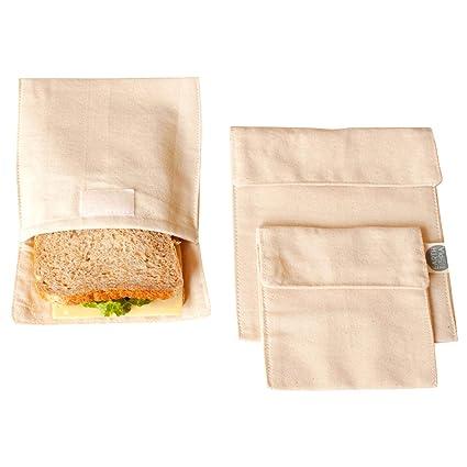 Earthtopia - Juego de 3 Bolsas de Almuerzo de algodón ecológico, Comercio Justo y Reutilizable