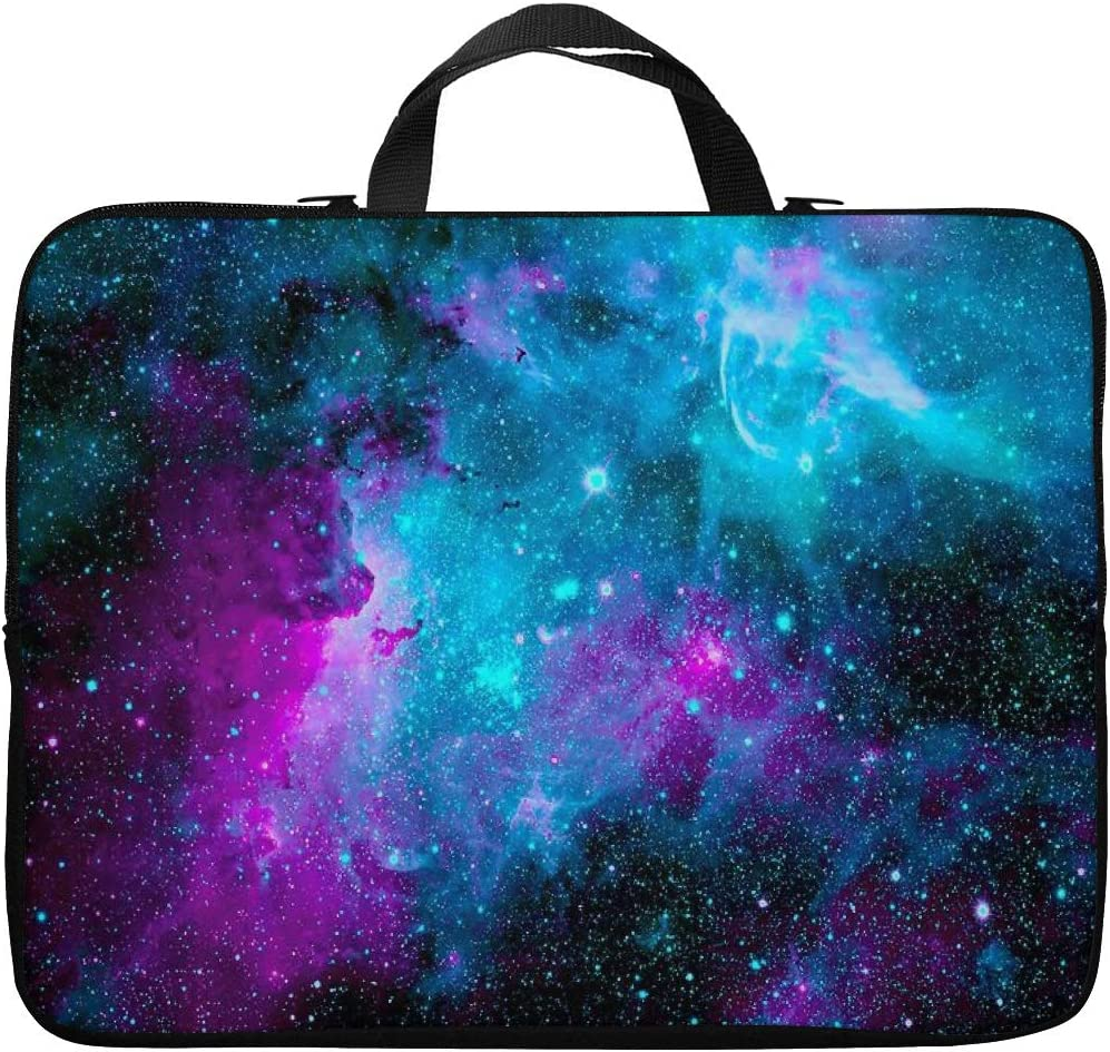 Britimes Laptop Case 15.6 inch, Dazzling Galaxy Beautiful Colorful Starry Outer Romantic Milky Space Glowing Neoprene PC Computer Sleeve Waterproof Notebook Handle Carrying Bag