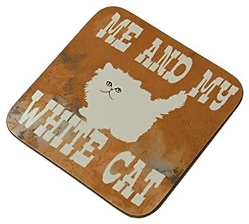 Compra Penny the Poocher Posavasos con diseño de Gato Blanco, Texto en inglés Me and My White Cat, Regalo para los Amantes de los Gatos, Color Blanco en ...