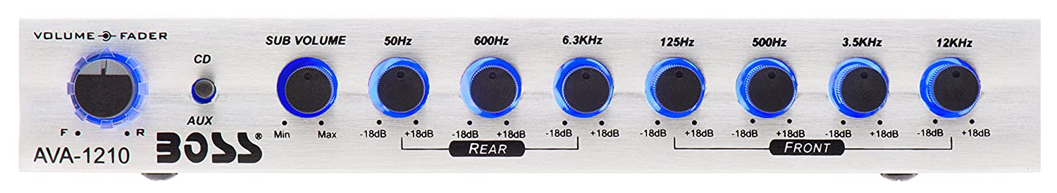 BOSS Audio AVA1210 7 Band Pre-Amp Car Equalizer With Gold-Plated Front//Rear and Subwoofer Outputs