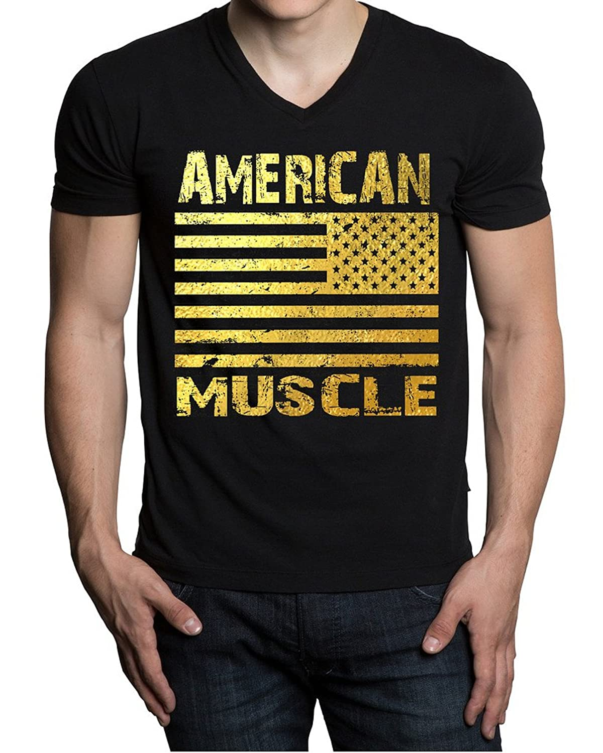 Gold American Muscle US Flag Men's Black V-Neck T-Shirt Black