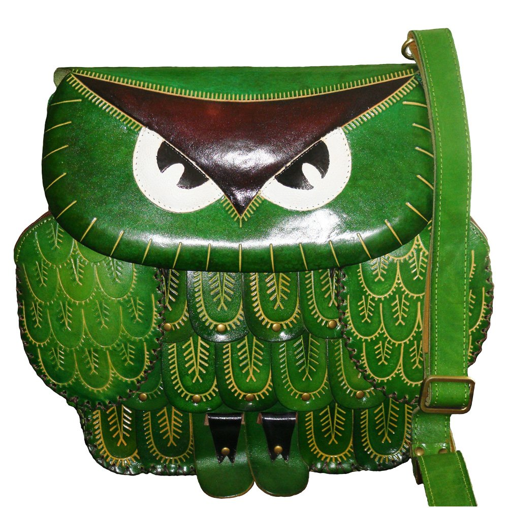 Green Owl Face Cover Unique Holiday Gift Choice Genuine Leather Messenger Bag