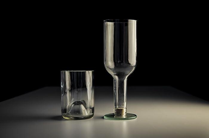 Copa y vaso artesanal, reciclado de botellas de alta gama