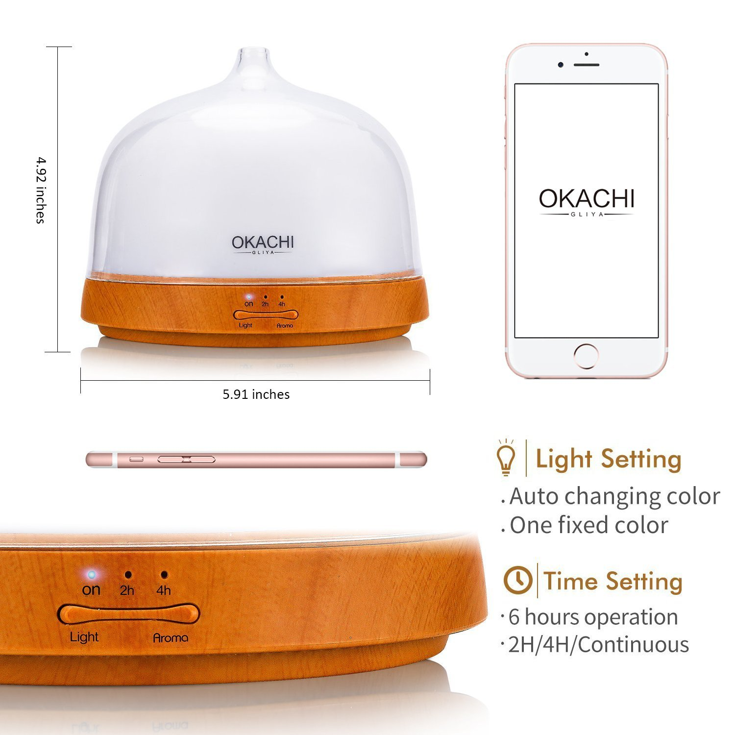 Essential Oil Diffuser Okachi Gliya Cool Mist Setting Engine Belt Diagram 3 1 Adjustment Aroma Humidifier For Aromatherapy Bpa Free Timer Waterless Auto Shut Off 7 Color Led