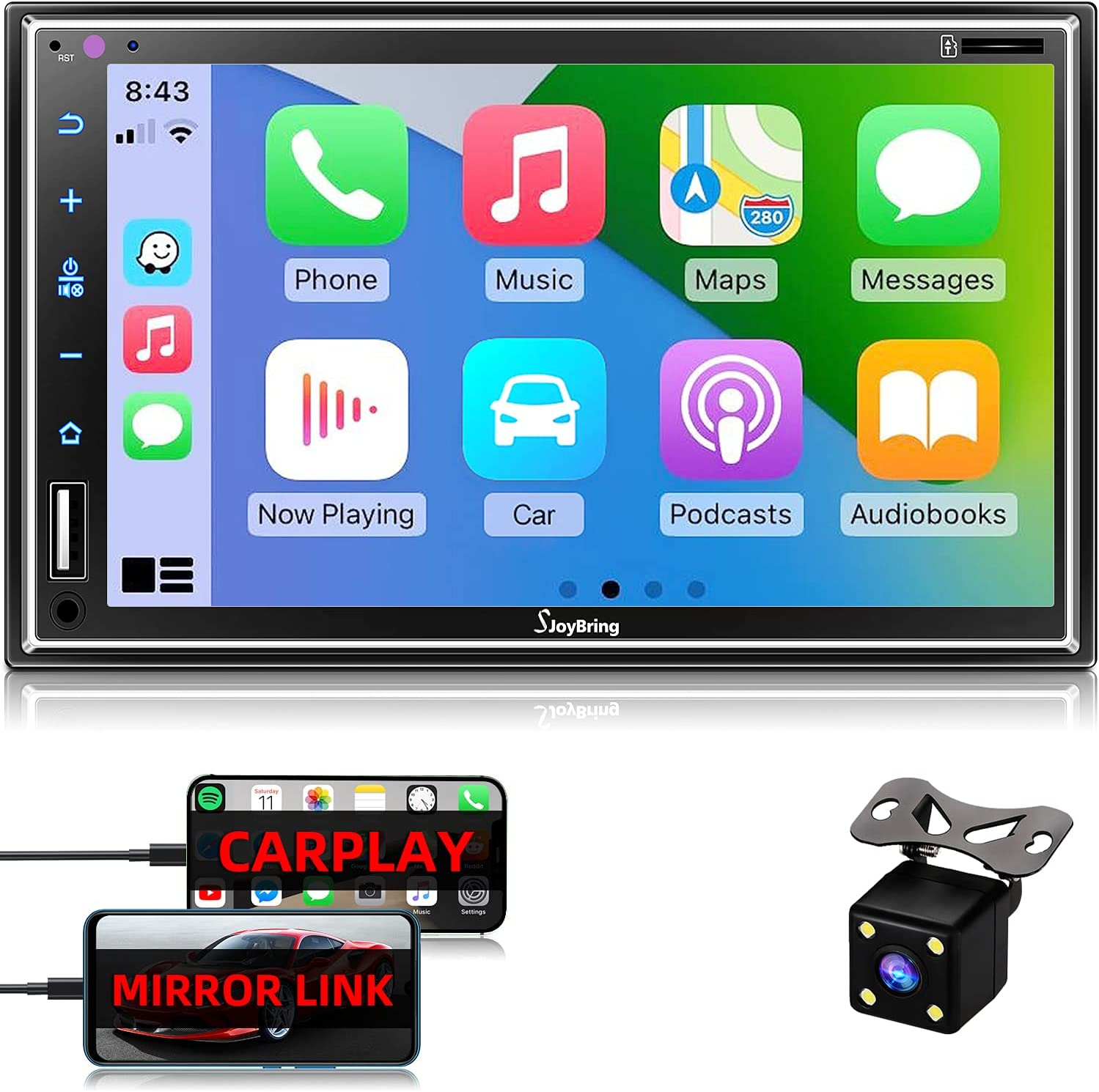 Car Stereo Compatible with Apple Carplay, Double Din 7