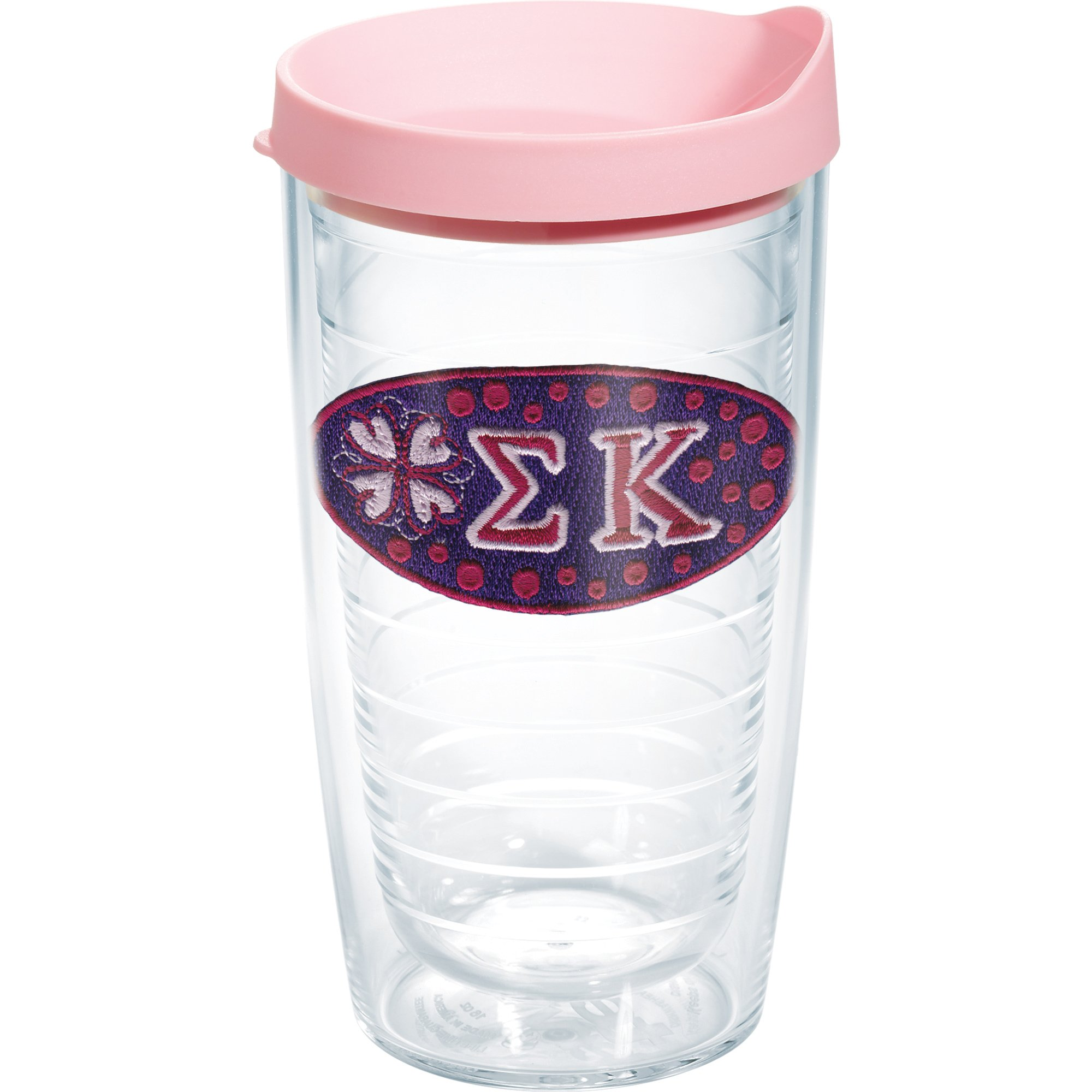 Tervis 1080029 Sorority - Sigma Kappa Tumbler with Emblem and Pink Lid 16oz, Clear by Tervis (Image #1)