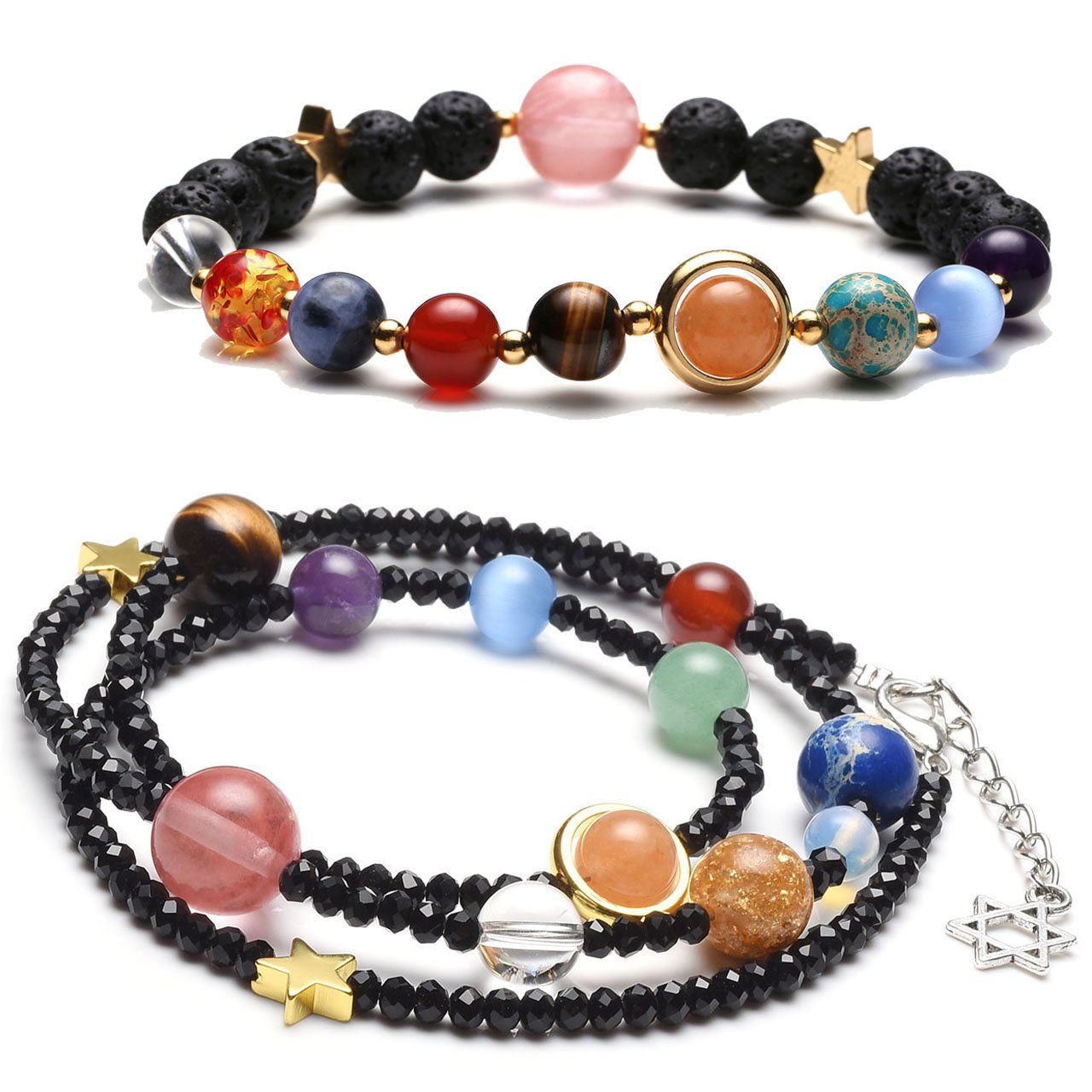 Top Plaza Unique Solar System Nine Planets Bracelet Chakra Reiki Healing Crystal Yoga Meditation Adjustable Bracelets Necklace Set(Black)