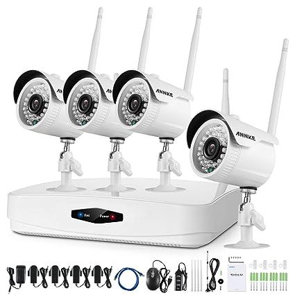 Annke 8CH - Sistema de seguridad de vigilancia inalámbrico, 720p, HD, de 1