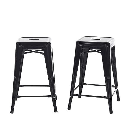 Amazoncom Buschman Set Of 2 Black 24 Inch Counter Height Metal Bar