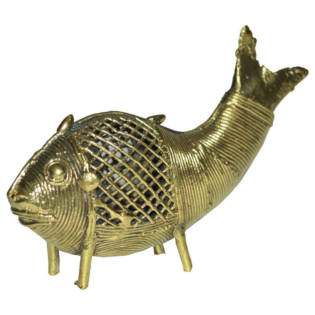Suryafashion Brass Bastar Dokra Art Decorative Fish for Display/Home Decor Handicraft Item