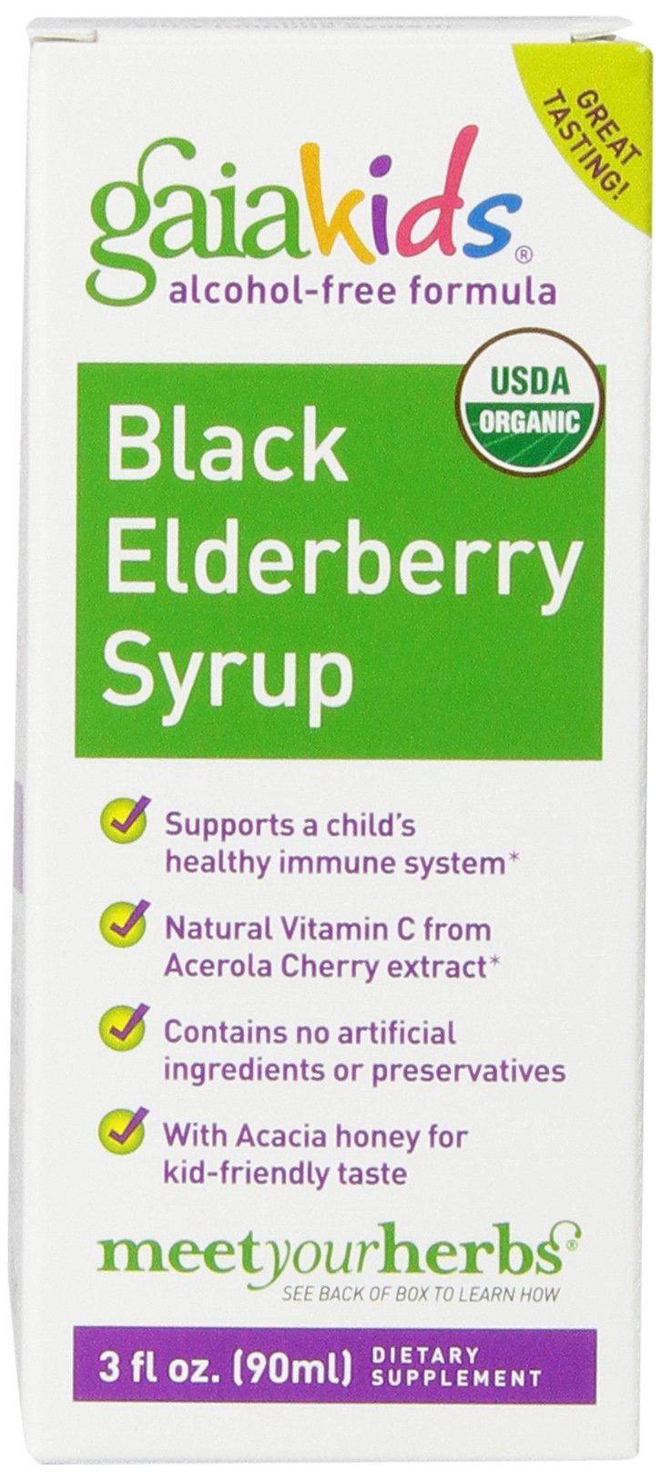 Gaia Kids Black Elderberry Syrup, 3-Ounce Bottle
