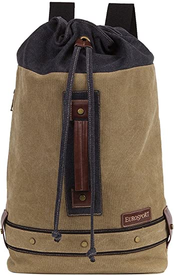 Amazon.com  Eurosport Canvas Draw String Duffle Backpack Adjustable Straps  Padded Khaki B713  McKee Markets 68411f6ff50