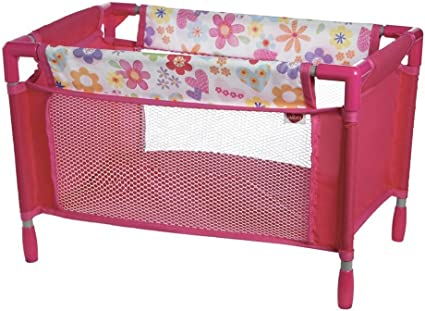 Amazon Com Adora Baby Doll Crib Pink Floral Playpen Bed Toy With Carry Bag For Baby Dolls Up To 16 Inches Toys Games