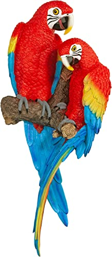 Design Toscano QL11295 Tropical Scarlet Macaws Wall Sculpture
